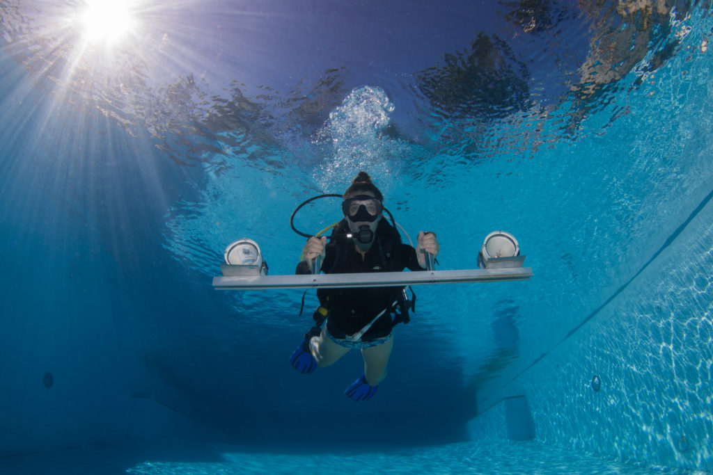Chelsea Waters during dive training at the Institute for Marine Research Phillipines